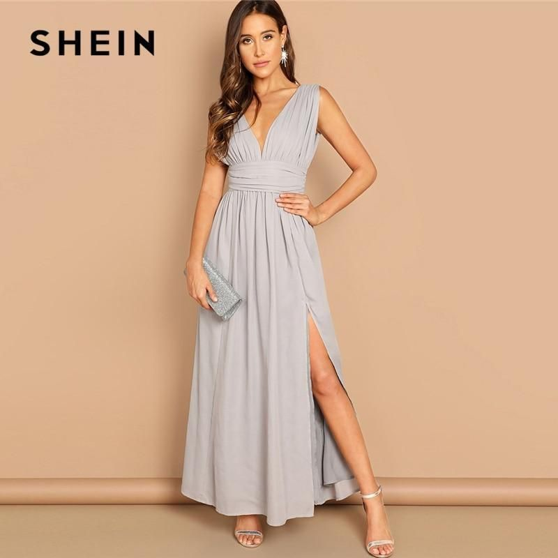 d179aa17f9 SHEIN Grey Elegant Deep V-neck Ruched Wide Waistband Slit Dress Fit And  Flare So