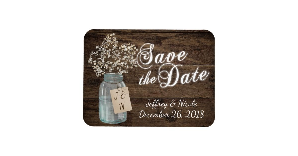 Save the Date Rustic Country Mason Jar Wedding Rectangular Photo Magnet Country Wedding Save the Date Invitations.