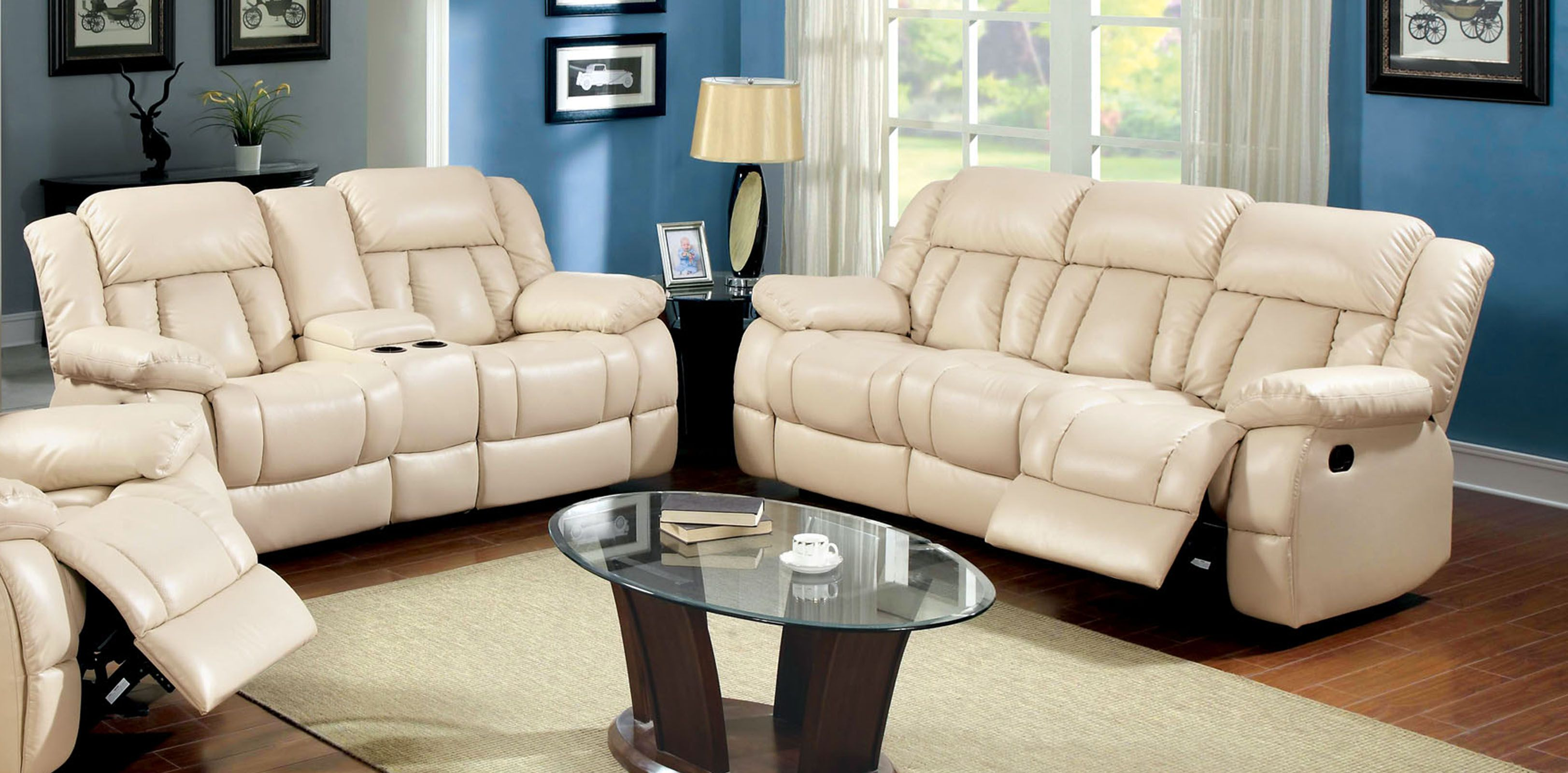 Furniture of america thaerin transitional bonded leather reclining 2 piece sofa set beige