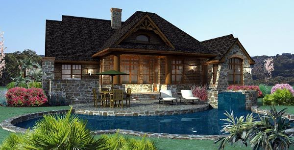 Rear Elevation of Cottage   Craftsman   Ranch   Tuscan   House Plan 65867