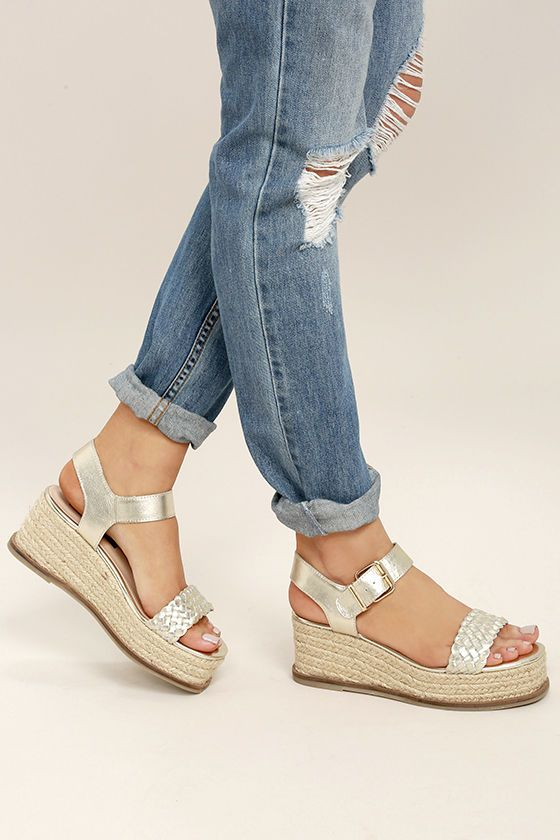 e6ef4f703a5 Steven by Steve Madden Sabble Gold Leather Espadrille Wedges ...