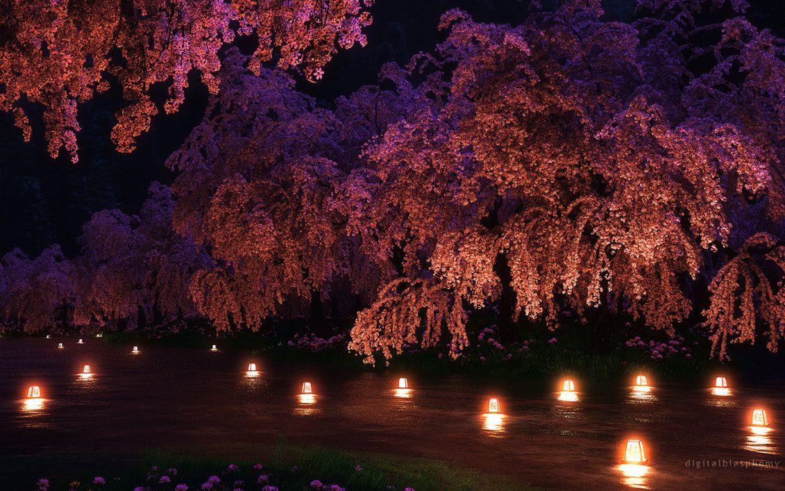 Sakura Night By Dblasphemy On Deviantart Pink Night Lights Cherry Blossom Flowers Night Garden