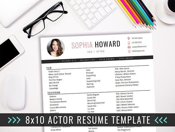 actor resume template 8 x 10 acting resume instant digital