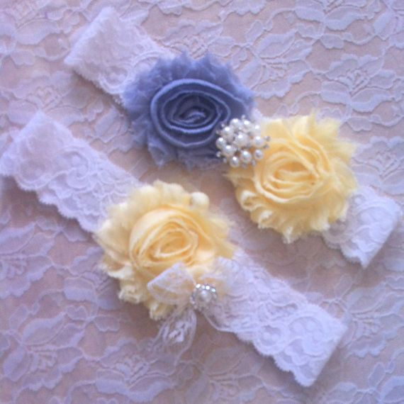 2 Pc GRAY/YELLOW Wedding Bridal Prom Garter By