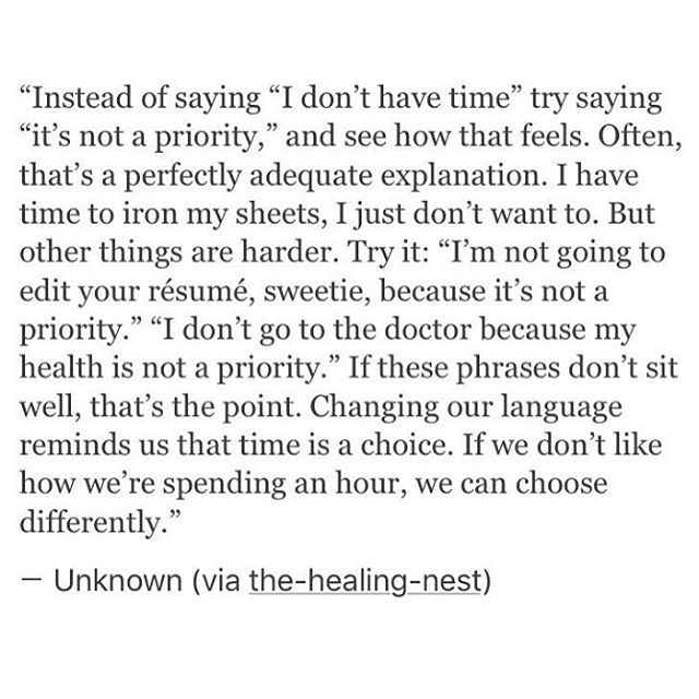Ouch... this put some things in perspective.  Especially in regards to health, how others disregard us & my need to reprioritize.  It did also show that some things I've gotten thankfully right :D.   #explanation #priorities #time #excuses #choices