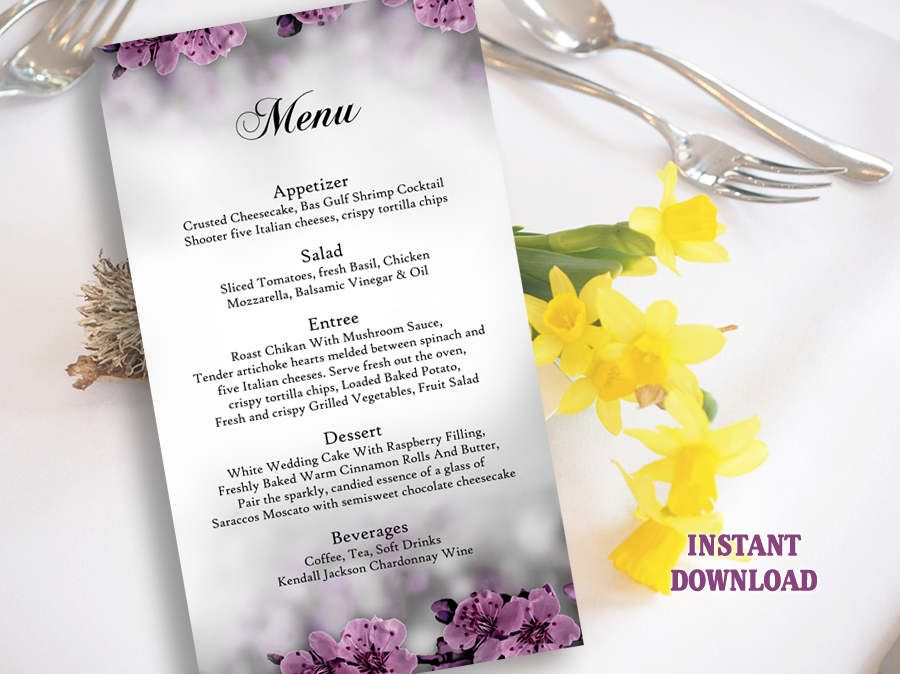 Flower Wedding Menu Template Menu Card Template Download