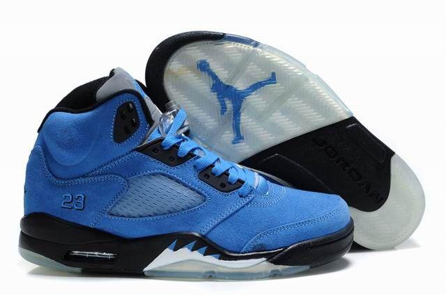 Air Jordan 5 V Retro Embroidery Black White Blue Suede Shoes AJ5-030