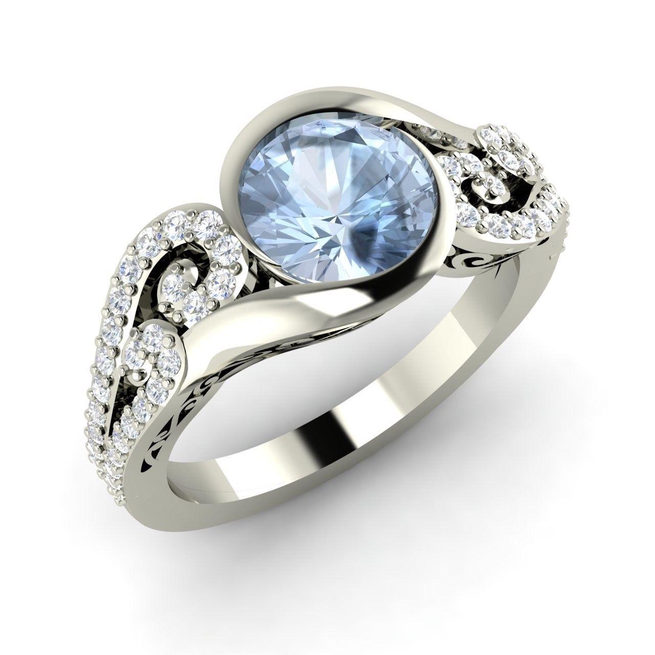 1 24 Ct Natural Aquamarine Engagement 14k White Gold Ring Inspired