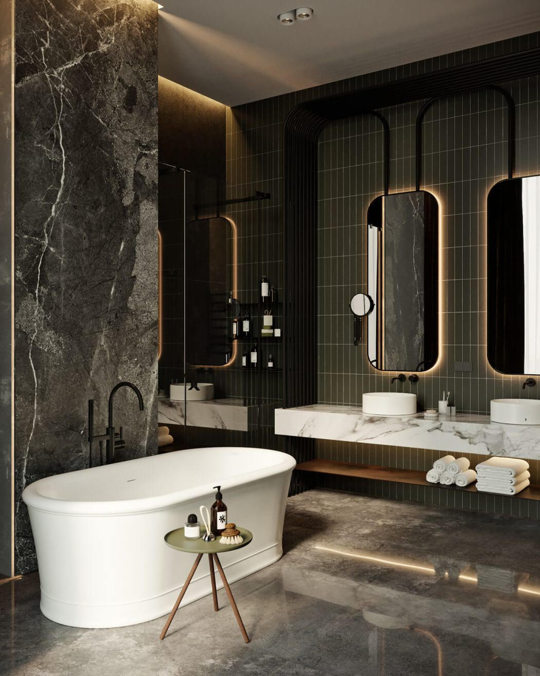 Inside luxury homes bathroom - Dark Moody Bathroom Designs That Impress