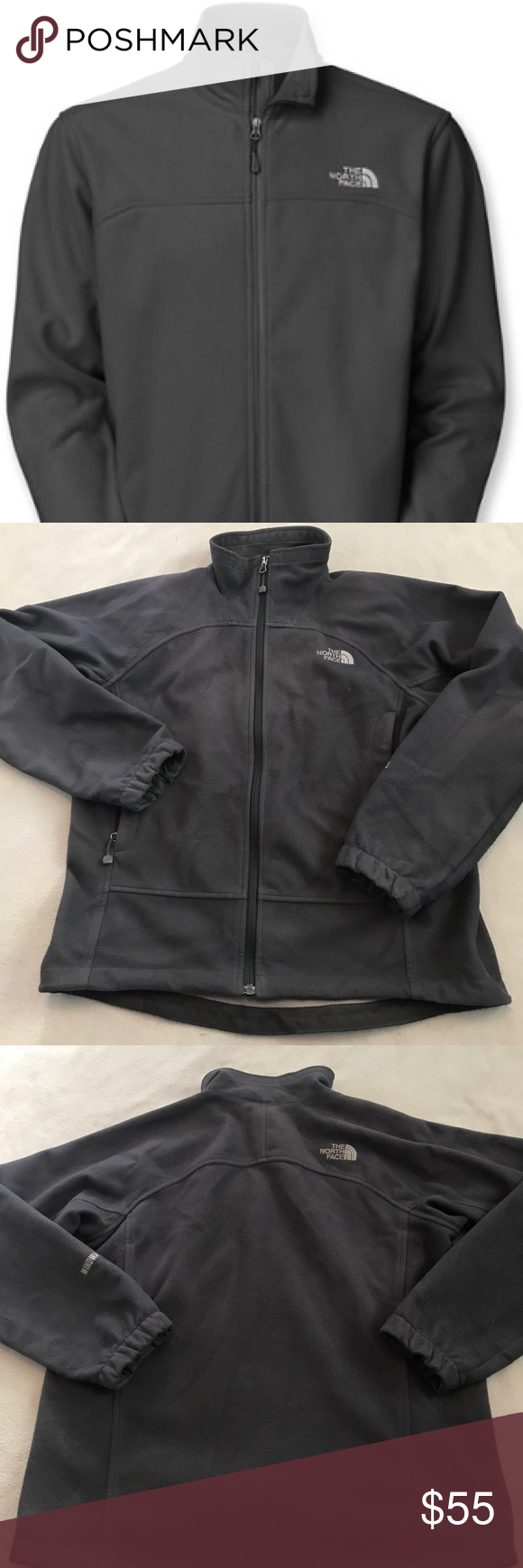 North face windwall dark gray fleece zip up jacket dark grey dark