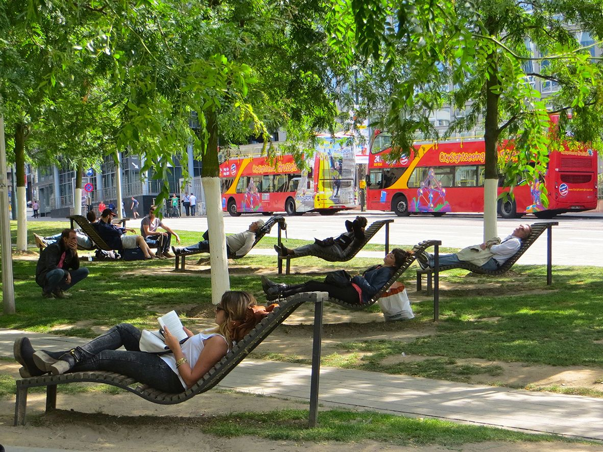 Lounge chairs near Cathedral of St Michael and St Gudula ...