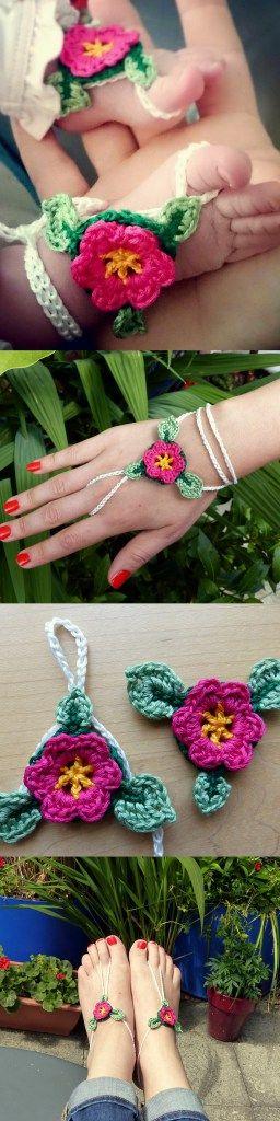 Baby Barefoot Flower Sandal - super adjustable free crochet pattern ...