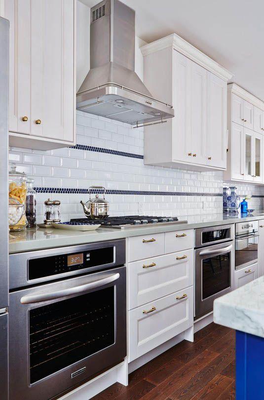 Sarah Richardson Design Blue, White And Gold Kitchen