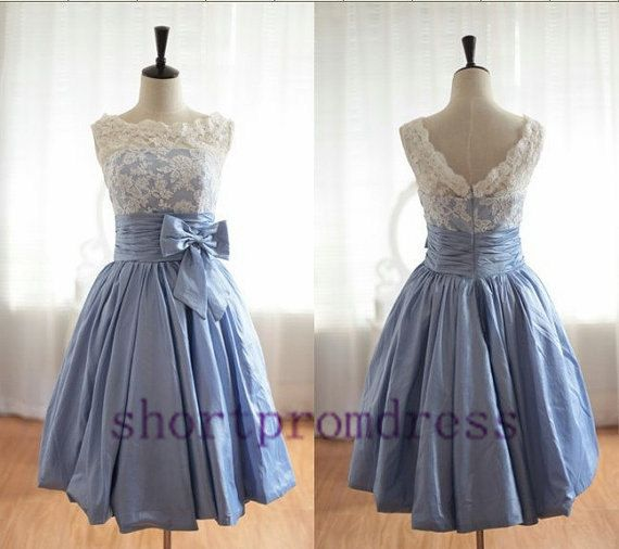 Short White Lace blue  Wedding Dress Formal by shortpromdress, $88.00