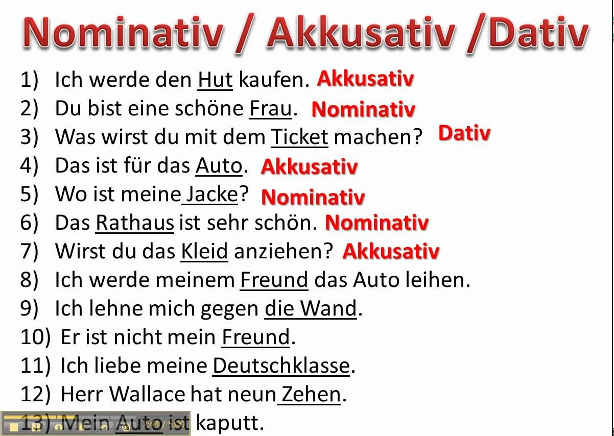 Determining Cases With Nominative Accusative And Dative