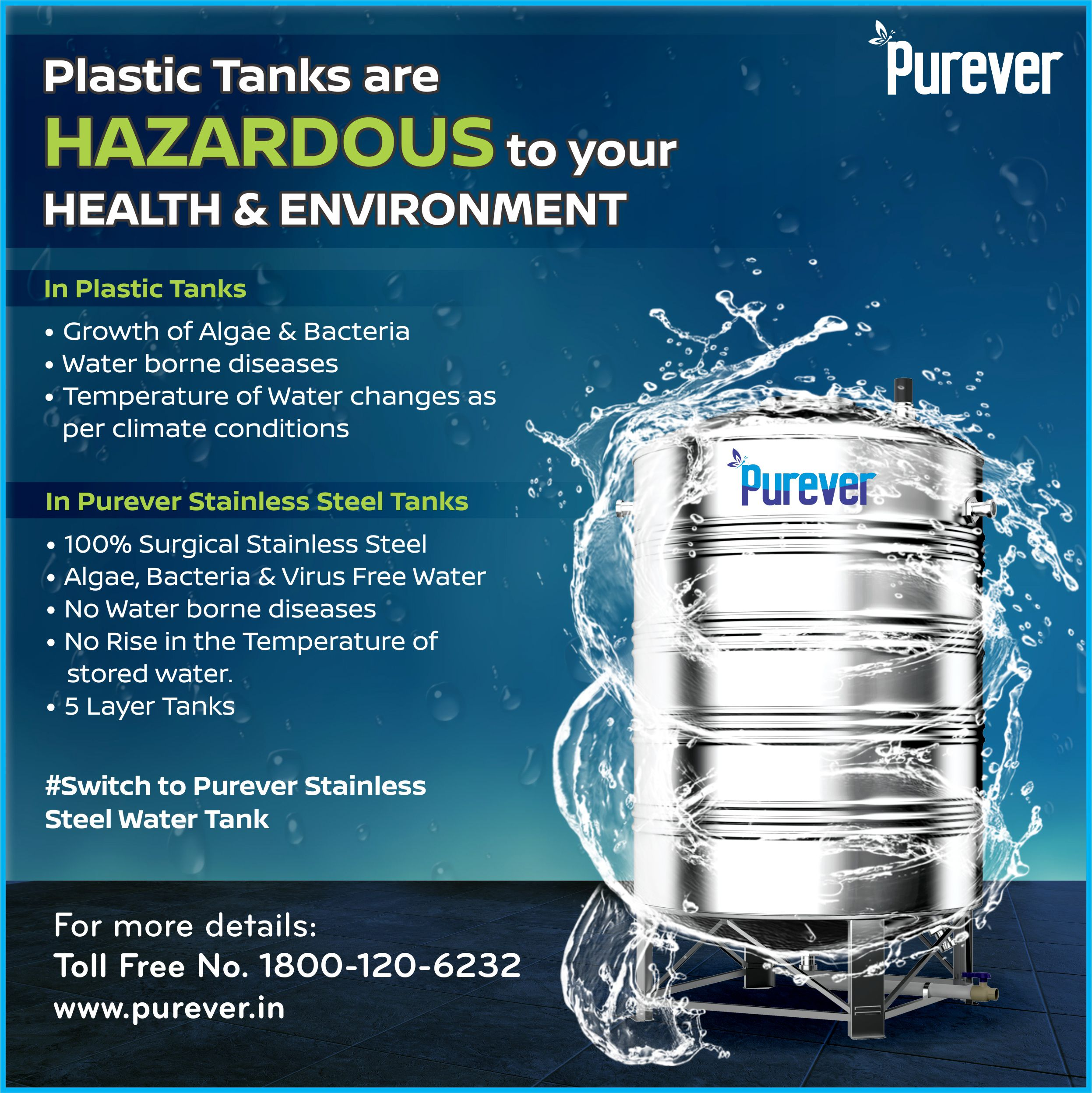 Plastic Tanks Are Hazardous Health Environment Purever Stainless Steel Tanks 100 Surgical Stainless Stainless Steel Tanks Steel Water Tanks Steel Water