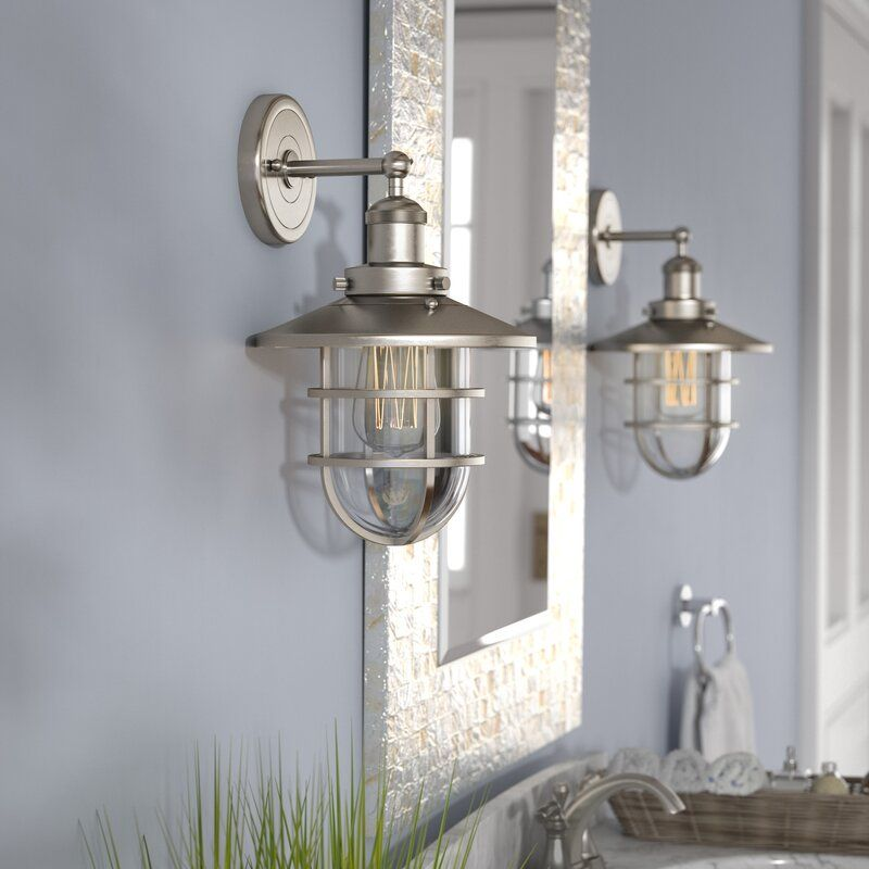 Humphries 1 Light Armed Sconce Sconces Glass Dome Cover Wireless Wall Sconce