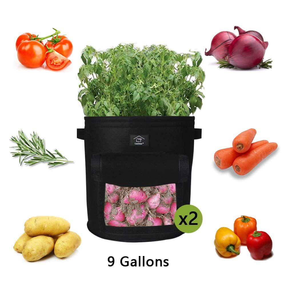 Vliestopfbeh/älter f/ür Kartoffeln iTrunk 2er Pack Kartoffel Pflanzbeutel,7 Gallonen Pflanztasche mit Sichtfenster und Griffen etc. Karotten Tomaten