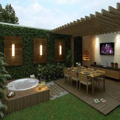 Image result for piscina pequena com deck e churrasqueira driveway