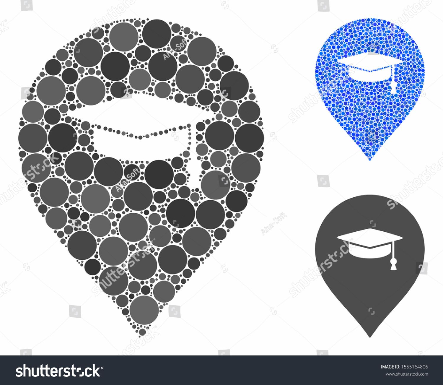 Education marker composition of round dots in variable
