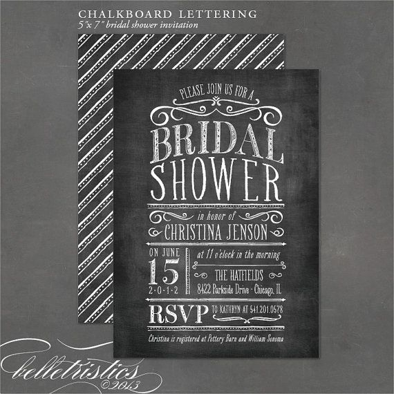chalkboard bridal shower invitation vintage chalkboard lettering printable invite