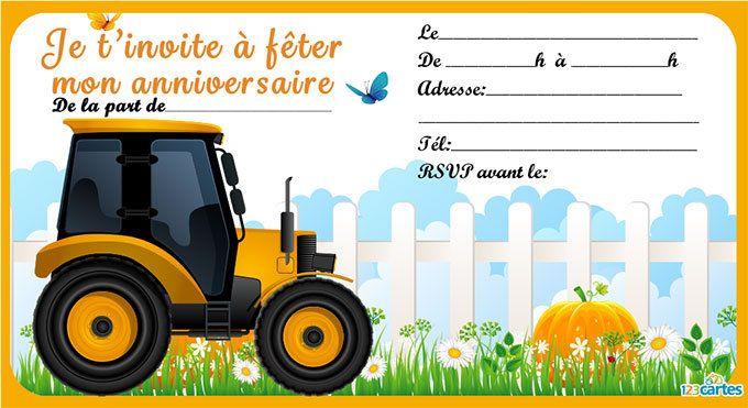 Invitation anniversaire tracteur gratuite imprimer - Jeux de tracteur agricole gratuit ...