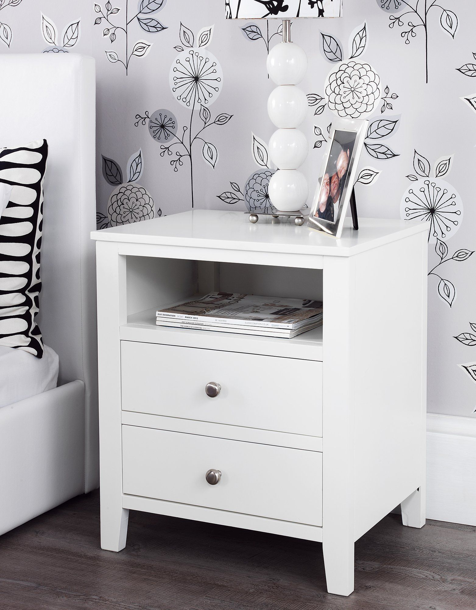 Brooklyn White Bedside Table With 2 Drawers And Shelf Metal Runners