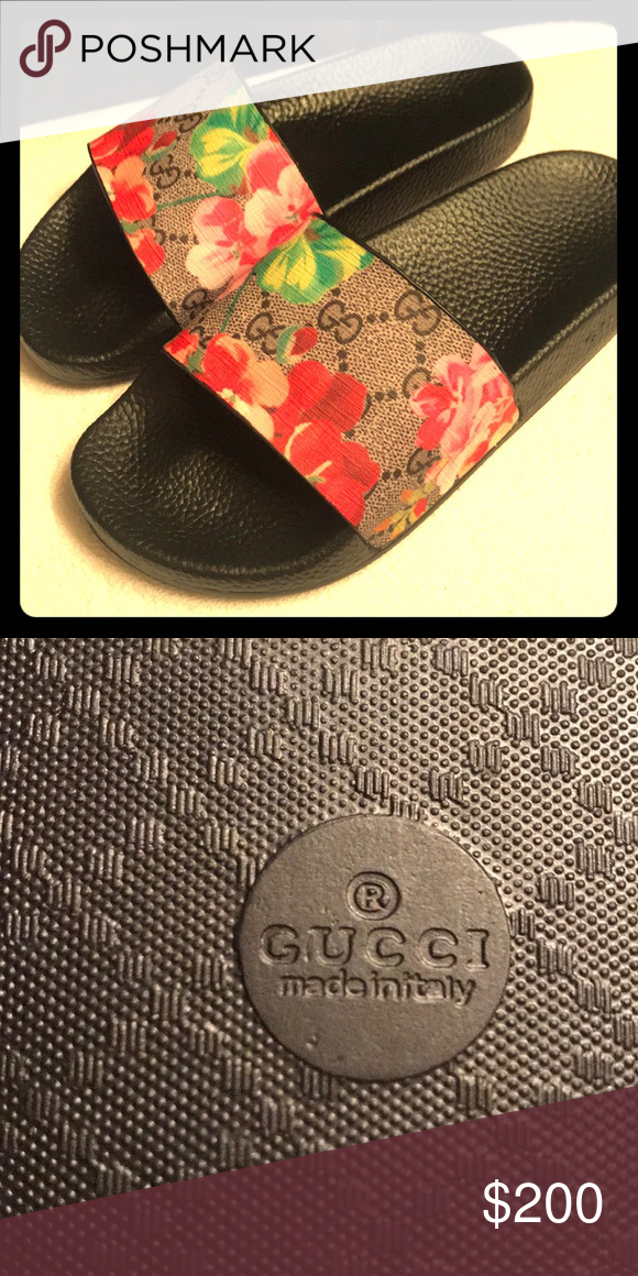 a14a4a7fc7aef5 Gucci flip flops  NEVER WORN  Black GUCCI flip flops with Hawaiian pattern  purchased from BLOOMINGDALES. Sadly they are too small on me by only an  inch!