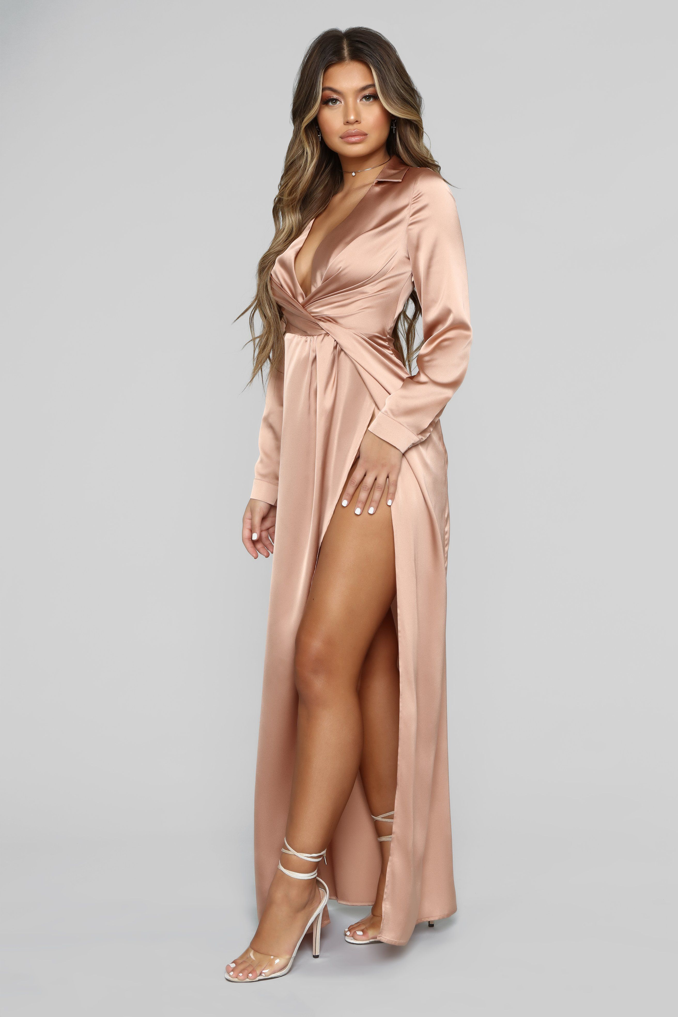 Dont slip away maxi dress champagne long sleeve silk