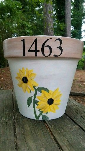 Handpainted Sunflower Pot, custom order!