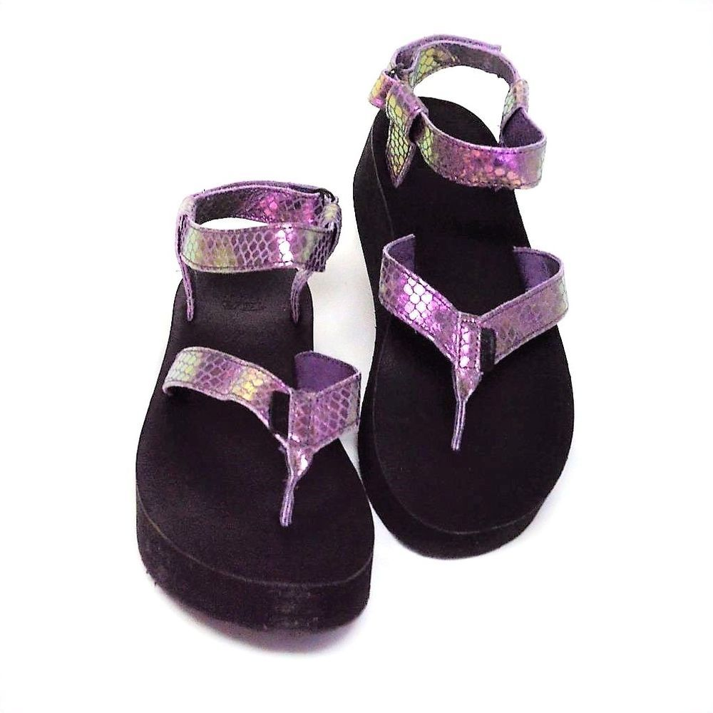 7e39784fbbb5 NEW Teva Womens 10 41 Universal Flatflorm Platform Sandals Plum Iridescent   Teva  FlatfoamPlatformThongs  Beach