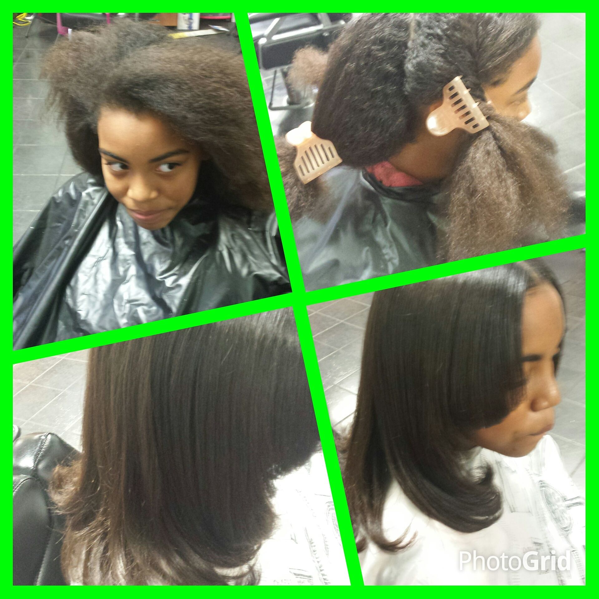 virgin relaxer on mixed race little girl hair at Trendz by Tammy