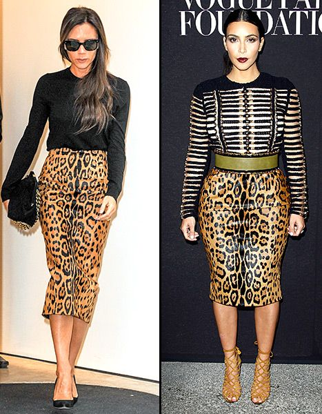 9d1f3191f1 Kim Kardashian and Victoria Beckham wore the same leopard print pencil  skirt -- but who wore it best
