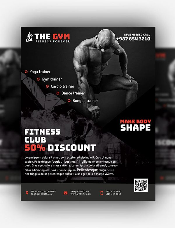 Free GYM Fitness Flyer \/ Poster PSD Template #freebies #psd #goods - fitness flyer