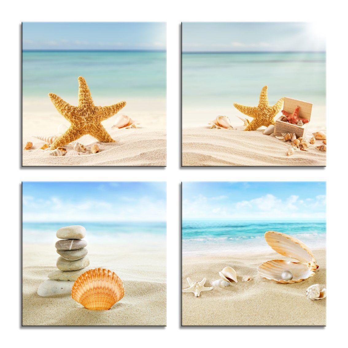 Amazon Com Ypy Painting 4 Panels Beach Stone Sand Daisy Flower