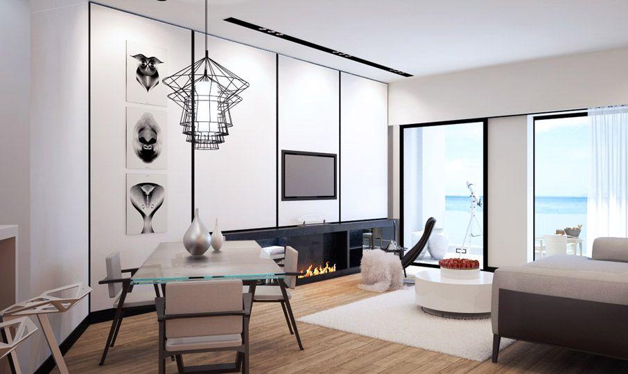 dettagli in bianco e nero per questo appartamento con ...
