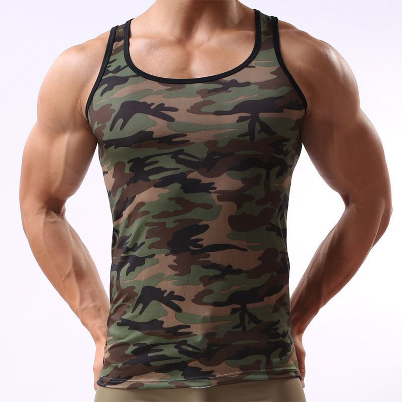 8f906038c0caa Click to Buy << Camouflage Tank Top Mens Army Green Vest Sleeveless  Undershirt Slinglet Men Sexy Tight Military Shirt Fitness Bodybuilding  #Affiliate