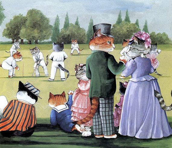 Victorian Cats Susan Herbert  Antique / by HeatherwoodArtPrints, $9.50 - At the Game