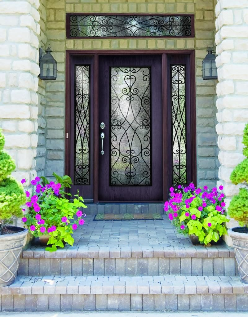 Plastpro wrought iron priscilla fiberglass single door for Fiberglass entry doors with sidelights