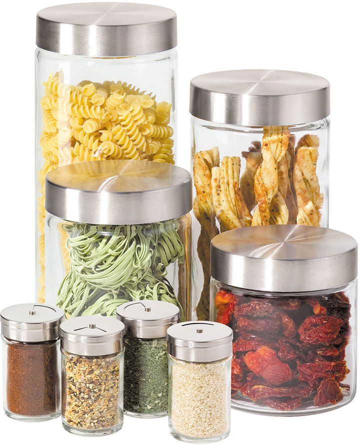 Oggi 8 Pc Glass Canister And Spice Jar Set Glass Canisters Cozy