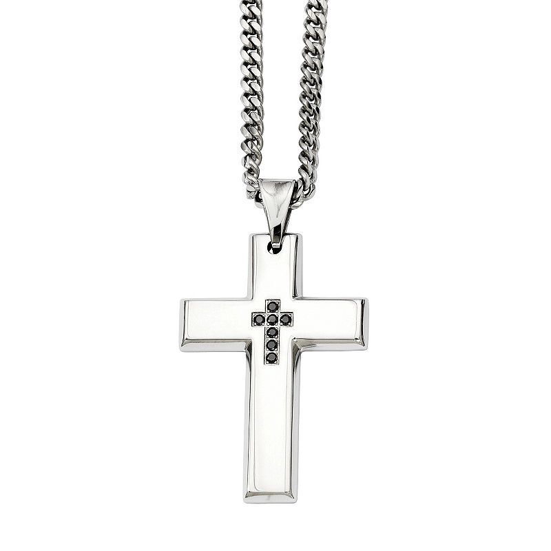 22 Inch Stainless Steel Fancy Lobster Closure Antiqued and Polished Cross Pendant