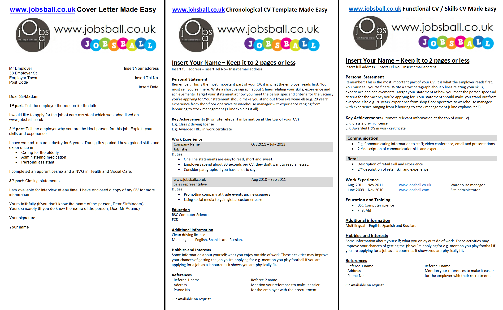 Cv And Cover Letter Made Easy With WwwJobsballCoUk Simple Cv
