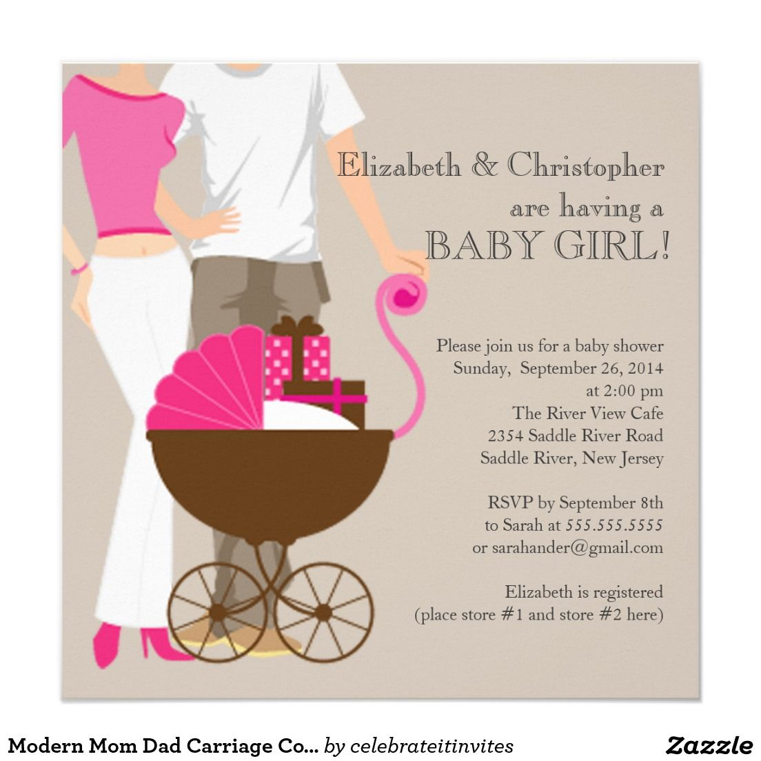Modern Mom Dad Carriage Couple Baby Shower Card | Baby shower ...