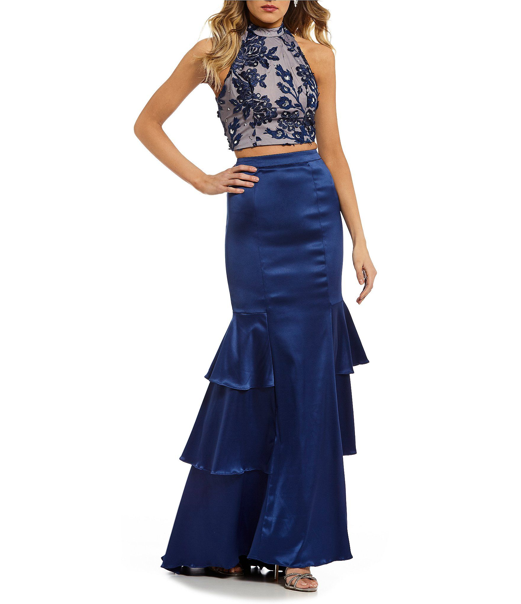 Sequin hearts embroidered top with tiered skirt twopiece dress