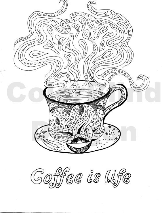 Coffee Coloring Page Coloring Pages Coffee Java Steam Hot