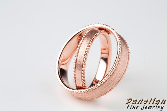 14k Couple Band Set shipped worldwide in solid rose gold solid
