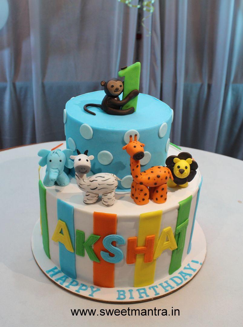Homemade Eggless 3d Custom 2 Tier Animal Theme 1st Birthday Cake For Boy At Wakad Pune Boys 1st Birthday Cake Boy Birthday Cake Cake Home Delivery