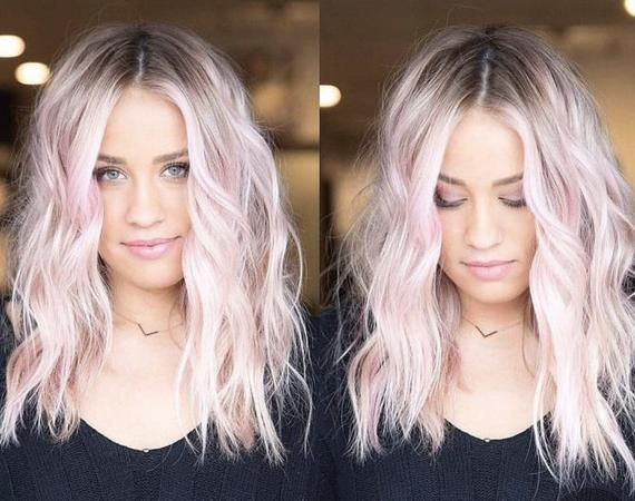 Pink Ombre Brown Root Wavy Human Hair Lace Front Wig 150 Density In 2020 Purple Blonde Hair Pink Blonde Hair Blonde Hair With Roots