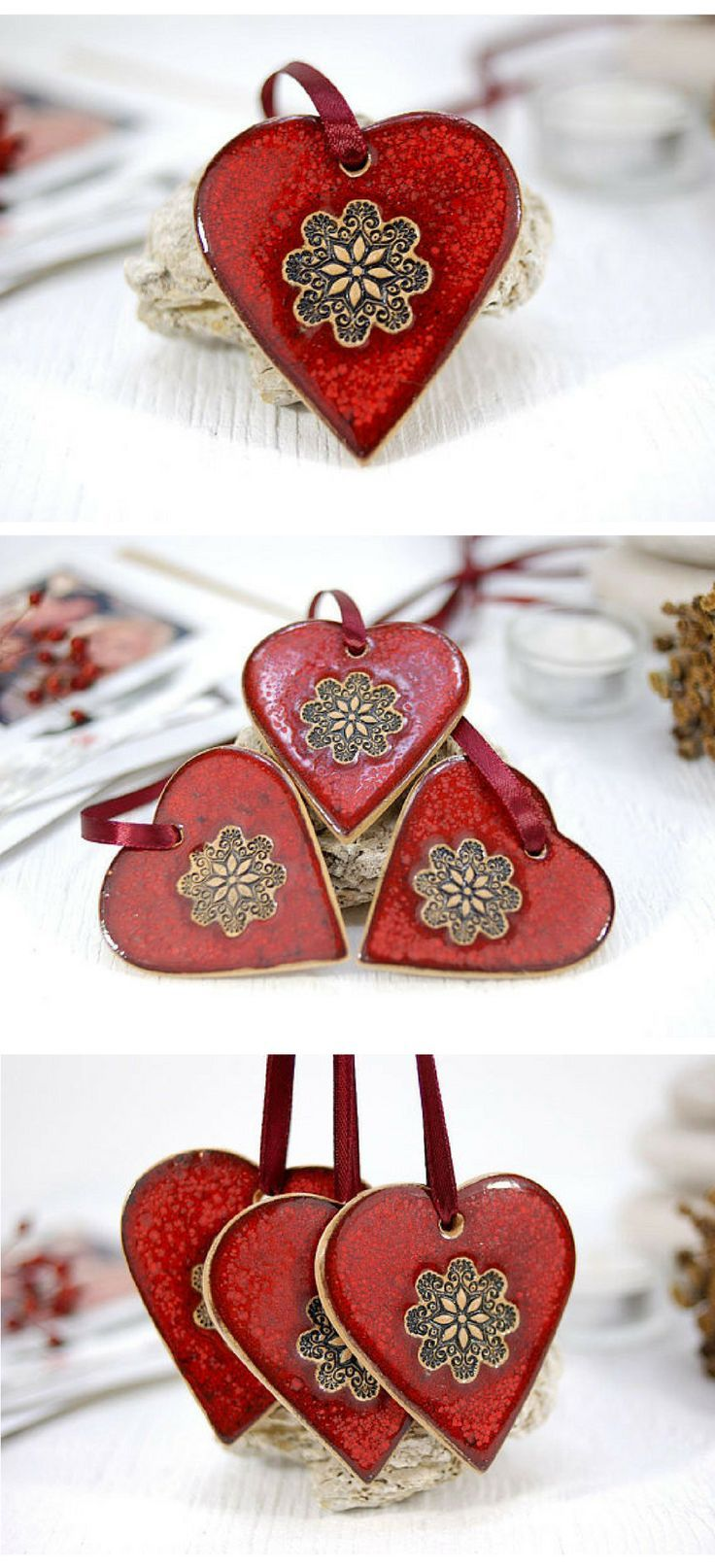 i want these red ceramic heart shaped ornaments right know they are