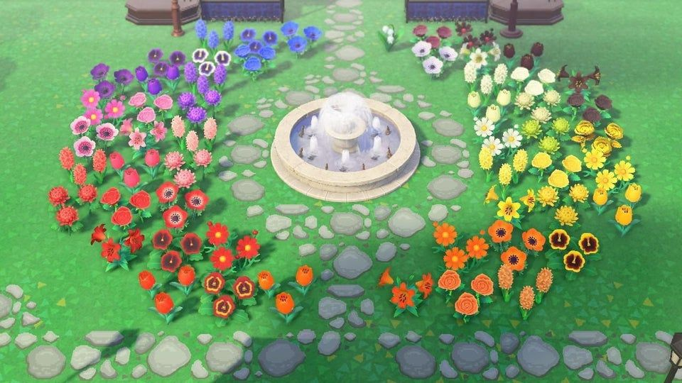 1 I Made A Rainbow Garden Outside My Museum Using One Of Every Flower Animalcrossingtours Animal Crossing Rainbow Garden New Animal Crossing
